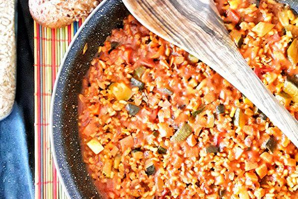 Arroz integral con soja textrizada y verduras asadas 2